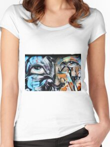 Abstract Graffiti Face on the textured brick wall Women's Fitted Scoop T-Shirt