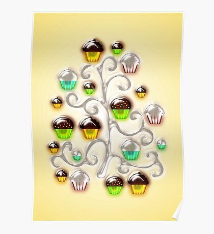 Cupcake Glass Tree Poster