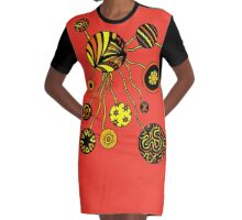 Spores in Red Orange and Yellow  Graphic T-Shirt Dress