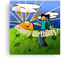 Minecraft Birthday Card Canvas Print