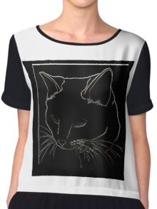 Cat Line - Neutral Colors Chiffon Top