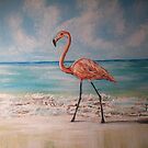 FLAMINGO BY THE WATER by Pamela Plante
