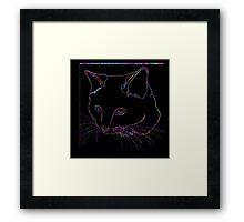 Cat Rainbow Line Framed Print