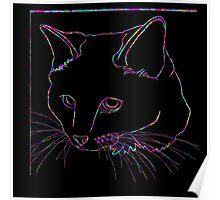 Cat Rainbow Line Poster
