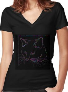 Cat Rainbow Line Women's Fitted V-Neck T-Shirt