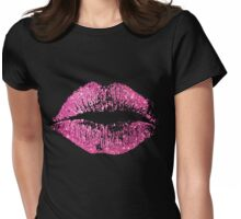 Stylish Pink Glitter Lips Womens Fitted T-Shirt