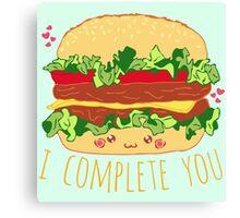 i complete you - hamburger doodle Canvas Print