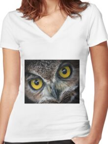 Im watching you Women's Fitted V-Neck T-Shirt