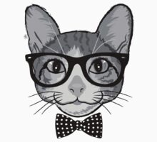Cat Hipster with Polka Dots Bow Tie Kids Tee