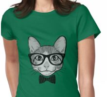 Cat Hipster with Polka Dots Bow Tie Womens Fitted T-Shirt