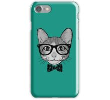Cat Hipster with Polka Dots Bow Tie iPhone Case/Skin