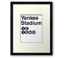 Yankee Stadium Subway Sign w Framed Print