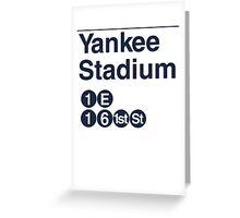 Yankee Stadium Subway Sign w Greeting Card