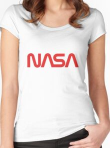NASA Worm Logo Women's Fitted Scoop T-Shirt
