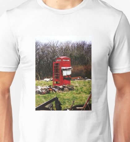 The Red Telephone Box in the Woods Unisex T-Shirt