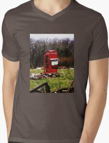 The Red Telephone Box in the Woods Mens V-Neck T-Shirt