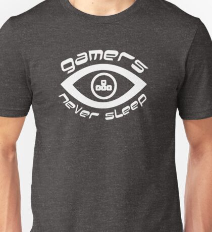 gamers never sleep wasd white edition Unisex T-Shirt