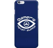 gamers never sleep wasd white edition iPhone Case/Skin