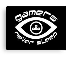 gamers never sleep wasd white edition Canvas Print