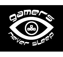 gamers never sleep wasd white edition Photographic Print