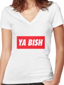 Ya Bish Typography Women's Fitted V-Neck T-Shirt