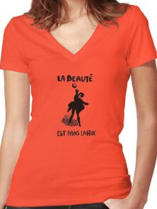 Beauty Is in the Street (black) Women's Fitted V-Neck T-Shirt