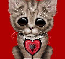 Cute Kitten Cat with Albanian Flag Heart by Jeff Bartels