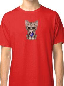 Cute Kitten Cat with Australian Flag Heart Classic T-Shirt