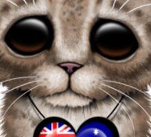 Cute Kitten Cat with Australian Flag Heart Sticker