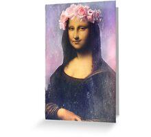 Mona Lisa Flower Crown Greeting Card