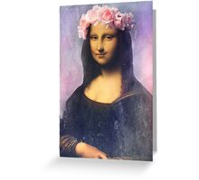 Mona Lisa Flower Crown Greeting Card