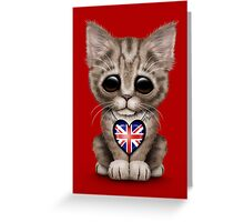 Cute Kitten Cat with British Flag Heart Greeting Card