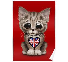 Cute Kitten Cat with British Flag Heart Poster
