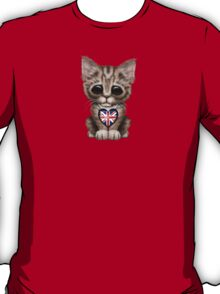 Cute Kitten Cat with British Flag Heart T-Shirt