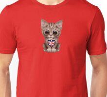 Cute Kitten Cat with British Flag Heart Unisex T-Shirt