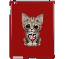 Cute Kitten Cat with British Flag Heart iPad Case/Skin