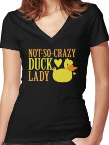 NOT-So-Crazy DUCK LADY Women's Fitted V-Neck T-Shirt