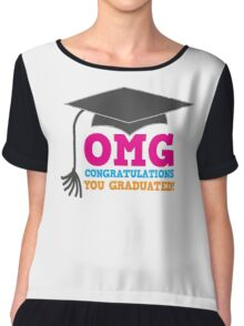 OMG congratulations you graduated! with mortar board Chiffon Top