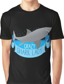 Crazy Shark Lady Banner Graphic T-Shirt