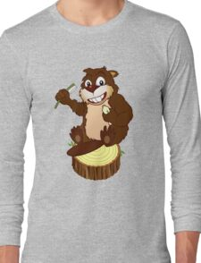 Beaver cartoon character with a toothbrush Long Sleeve T-Shirt