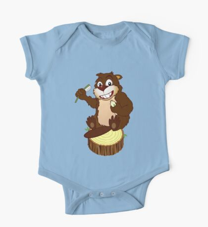 Beaver cartoon character with a toothbrush One Piece - Short Sleeve