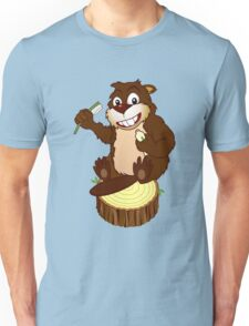 Beaver cartoon character with a toothbrush Unisex T-Shirt