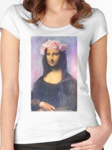 Mona Lisa Flower Crown Women's Fitted Scoop T-Shirt