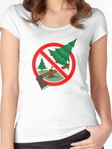 Stop cutting down live trees for Christmas sign Women's Fitted Scoop T-Shirt