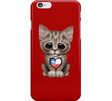Cute Kitten Cat with Chilean Flag Heart iPhone Case/Skin