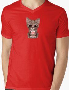 Cute Kitten Cat with English Flag Heart Mens V-Neck T-Shirt
