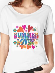 Sixties style mod pop art psychedelic colorful Summer Lovin text design Women's Relaxed Fit T-Shirt