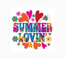 Sixties style mod pop art psychedelic colorful Summer Lovin text design Unisex T-Shirt