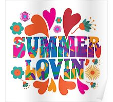 Sixties style mod pop art psychedelic colorful Summer Lovin text design Poster