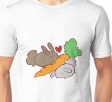 Hungry Bunnies and Carrot Unisex T-Shirt
